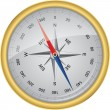 Golden vector compass with wind rose, vector illustration  — Векторная иллюстрация