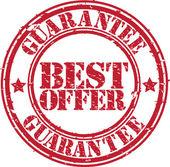 Grunge migliore offerta garanzia timbro di gomma, illustrazione vettoriale — Vettoriale Stock