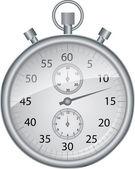 Zilveren vector stopwatch, vectorillustratie — Stockvector