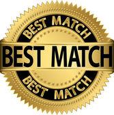 Best match golden label, vector illustration — Stock Vector