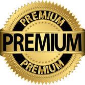 Premium golden label, vector illustration — Stock Vector