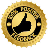 100 percent positive feedback golden label, vector illustration — Cтоковый вектор