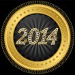 New year 2014 icon, golden with diamonds, vector — Stock Vector