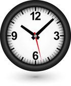 Black clock icon, vector illustration — Vector de stock