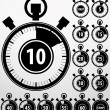 Stock Vector: Analog timer icons set, vector illustration