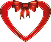 Red heart with gift bow, vector illustration — Cтоковый вектор