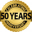 Celebrating 50 years anniversary golden label with ribbon, vector illustration — Stock Vector
