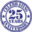Celebrating 25 years anniversary grunge rubber stamp, vector illustration — Vector de stock