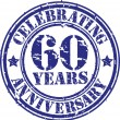 Celebrating 60 years anniversary grunge rubber stamp, vector illustration — Stock Vector