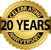 Celebrating 20 years anniversary golden label with ribbon, vector illustration — Vettoriale Stock