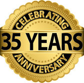 Celebrating 35 years anniversary golden label with ribbon, vector illustration — Vettoriale Stock