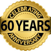 Celebrating 60 years anniversary golden label with ribbon, vector illustration — Vettoriale Stock