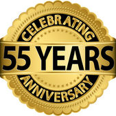 Celebrating 55 years anniversary golden label with ribbon, vector illustration — Vettoriale Stock