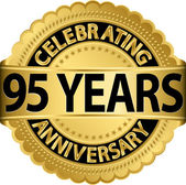 Celebrating 95 years anniversary golden label with ribbon, vector illustration — Vettoriale Stock