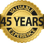 Valuable 45 years of experience golden label with ribbon, vector illustration — Vecteur