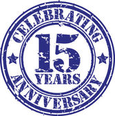 Celebrating 15 years anniversary grunge rubber stamp, vector illustration — Stock Vector