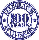 Feiern 100 jahre jubiläum grunge stempel, vektor-illustration — Stockvektor