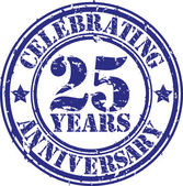 Celebrating 25 years anniversary grunge rubber stamp, vector illustration — Stock Vector