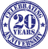 Celebrating 20 years anniversary grunge rubber stamp, vector illustration — Stock Vector