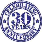 Celebrating 30 years anniversary grunge rubber stamp, vector illustration — Stock Vector