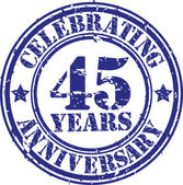 Celebrating 45 years anniversary grunge rubber stamp, vector illustration — Stock Vector