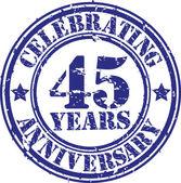 Celebrando 45 anni anniversario grunge timbro, illustrazione vettoriale — Vettoriale Stock
