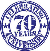 Celebrating 70 years anniversary grunge rubber stamp, vector illustration — Stock Vector