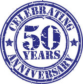 Celebrating 50 years anniversary grunge rubber stamp, vector illustration — Vector de stock