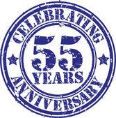 Celebrating 55 years anniversary grunge rubber stamp, vector illustration — Vetorial Stock
