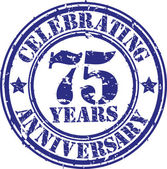 Celebrating 75 years anniversary grunge rubber stamp, vector illustration — Stock Vector