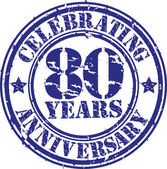 Celebrating 80 years anniversary grunge rubber stamp, vector illustration — Vector de stock