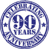 Celebrating 90 years anniversary grunge rubber stamp, vector illustration — Stockvektor