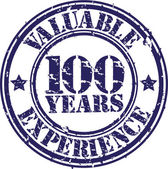 Valuable 100 years of experience rubber stamp, vector illustration — Stok Vektör