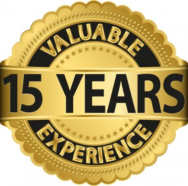 Valuable 15 years of experience golden label with ribbon, vector illustration