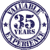 Valuable 35 years of experience rubber stamp, vector illustration — Stock Vector