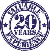 Valuable 20 years of experience rubber stamp, vector illustration — Stock Vector