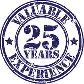 Valuable 25 years of experience rubber stamp, vector illustration — Stock Vector