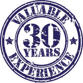 Valuable 30 years of experience rubber stamp, vector illustration — Stock vektor
