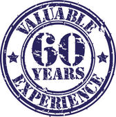 Valuable 60 years of experience rubber stamp, vector illustration — Stock vektor