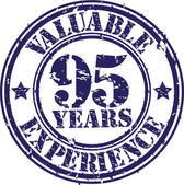 Valuable 95 years of experience rubber stamp, vector illustration — Stok Vektör