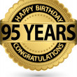 Happy birthday 95 years gold label, vector illustration — Vector de stock