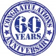 Congratulations 60 years anniversary grunge rubber stamp, vector — Stock Vector
