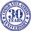 Congratulations 30 years anniversary grunge rubber stamp, vector — Stock Vector #41826249