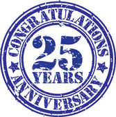 Congratulations 25 years anniversary grunge rubber stamp, vector — Vecteur