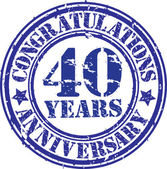 Congratulations 40 years anniversary grunge rubber stamp, vector — Stockvektor