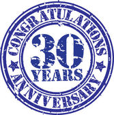 Congratulations 30 years anniversary grunge rubber stamp, vector — Stockvektor