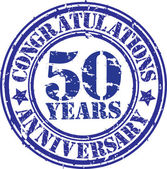 Congratulations 50 years anniversary grunge rubber stamp, vector — Stockvektor