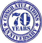 Cogratulations 70 years anniversary grunge rubber stamp, vector  — Stockvektor