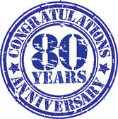Congratulations 80 years anniversary grunge rubber stamp, vector — Stock Vector