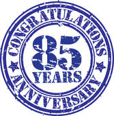 Congratulations 85 years anniversary grunge rubber stamp, vector — Stockvektor